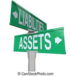 liabilities, attività, vs, due, strada, modo, segni, contabilità, strada