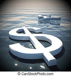 libbra, lontano, dollaro, interpretazione, andare, galleggiante, 3d
