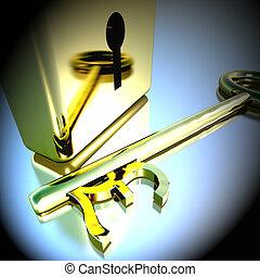 libbra, oro, lucchetto, bancario, esposizione, interpretazione, risparmi, chiave, 3d