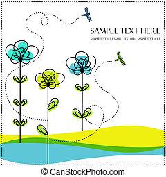 libellula, astratto, fiori