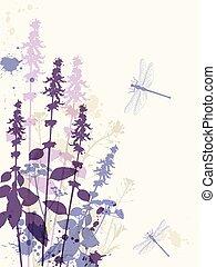 libellula, fiori, viola