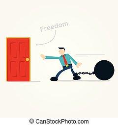 libertà, camminare, appena, porta, uomo affari