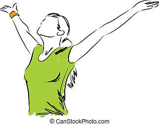libertà, ragazza, respirazione, illustrazione