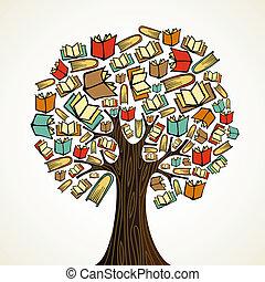 libri, albero, concetto, educazione