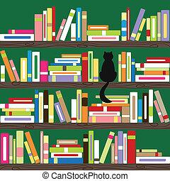 libri, colorito, scaffale