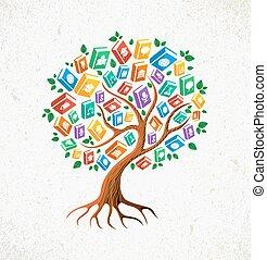 libri, concetto, albero, conoscenza, educazione