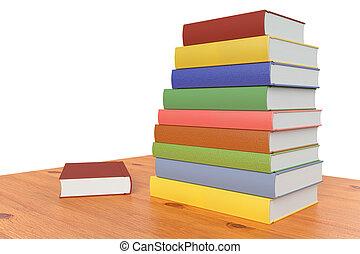 libri, diagonale, pila, legno, scaffale, tavola, o, colorare, vista