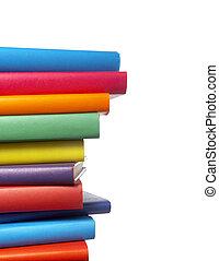 libri, educazione, pila, colorito