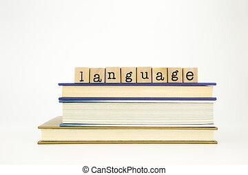 libri, francobolli, legno, parola, lingua