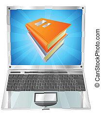 libri, icona, laptop, concetto