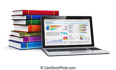 libri, laptop, pila, colorare