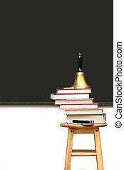 libri scuola, sgabello