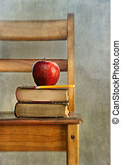 libri scuola, vecchio, mela, sedia
