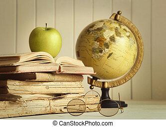 libri, vecchio, mela