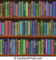 libri, vecchio, seamless, biblioteca, mensole