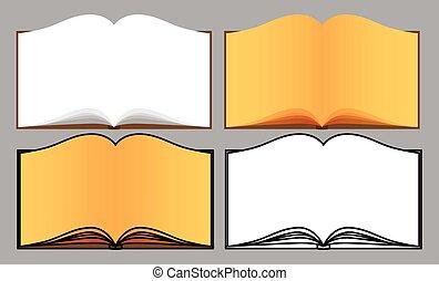 libri, vettore, set, aperto