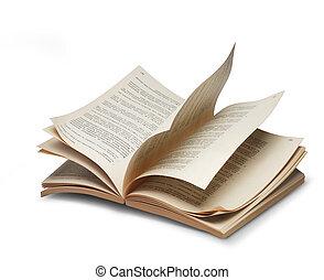 libro, aperto, pagine, riffling