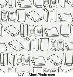 libro, cartone animato, contorno, backg, seamless
