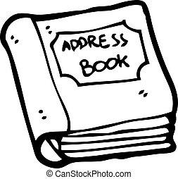 libro, cartone animato, indirizzo