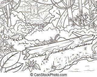 libro colorante, foresta, waterfal, cartone animato, giungla