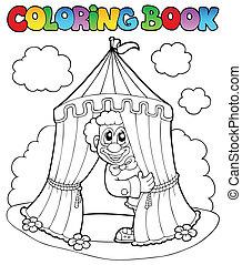 libro colorante, pagliaccio, tenda