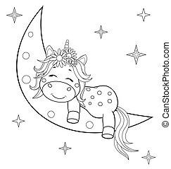 libro, coloritura, luna, bambino, unicorno