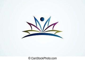 libro, educazione, aperto, figura, logotipo, vettore