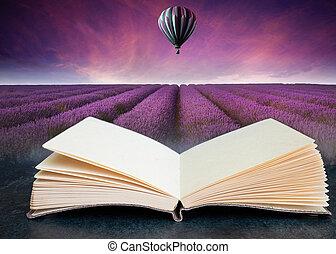 libro, estate, aria, balloon, composito, aperto, lavanda, caldo, tramortire, immagine, tramonto, concettuale, paesaggio, campo