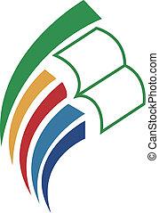 libro, istruire, logotipo, icona, &