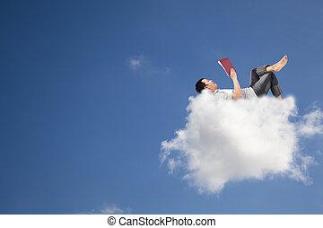 libro, lettura, nuvola, rilassare