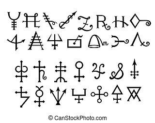 libro, medievale, alchemical, magia, grimoire, segni