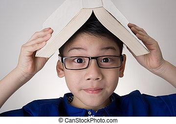 libro, pensare, testa, ragazzo, asiatico