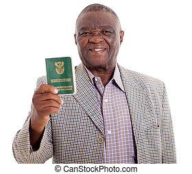 libro, presa a terra, africano, anziano, id, sud, uomo
