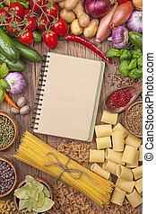 libro, ricetta, verdure fresche, vuoto