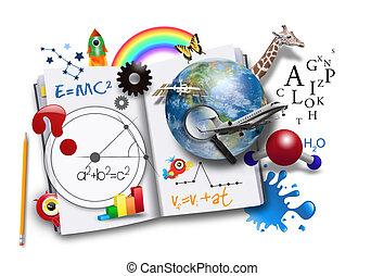 libro, scienza, aperto, matematica, cultura
