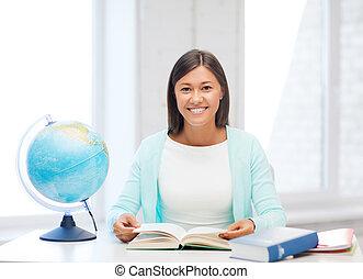 libro scuola, globo, insegnante