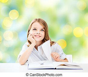 libro scuola, studente ragazza, felice