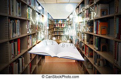 libro, spirito, galleggiante, biblioteca, educazione