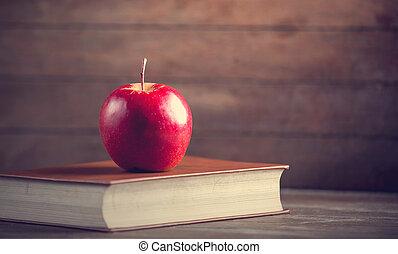 libro, tavola., mela, rosso