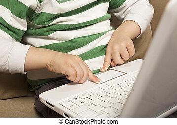 libro, usi, touchpad, giovane ragazzo, rete, laptop