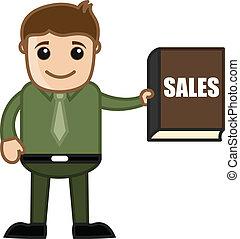 libro, -, vendite, affari, cartone animato
