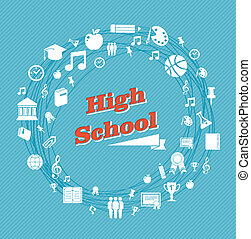 liceo, educazione, icons.