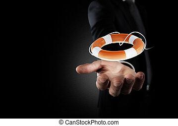 lifebelt., concetto, aiuto, assicurazione affari, uomo affari, presa, tuo