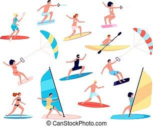 lifestyle., set, mare, sports., estremo, esterno, vettore, ricreativo, activity., estate, oceano, ozio, acqua, persone, surfing, canoe, windsurfing
