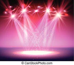 light., riflettore, fumo, palcoscenico