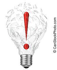 lightbulb, esclamazione, idea, punto