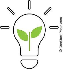 lightbulb, illustrazione, concept., vettore, ecologia