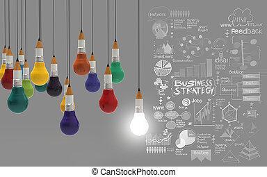 lightbulb, matita, concetto, affari, creativo, disegno, 3d