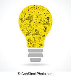 lightbulb, scarabocchiare, idea, tabelle, infographics, icona