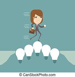 lightbulbs, vettore, bridge., illustrazione